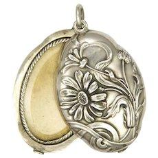 French Art Nouveau Silver Daisy Slide Locket