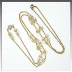 French Antique Silver Gilt Opera Length Necklace