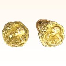 French Art Nouveau Gold Filled 'FIX' Shirt Studs - DROPSY