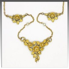 French Art Nouveau Gold Filled Rose Necklace - MURAT