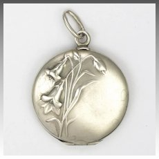 French Art Nouveau 800 Silver Flowers Locket