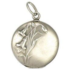 French Art Nouveau 800 Silver Flowers Locket