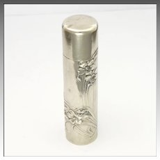 Art Nouveau 800 Silver Violets Perfume Bottle or Flask
