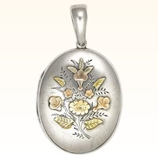 Victorian Engraved Sterling Silver  with 9k Gold Overlay Locket