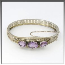 Victorian European Silver and Amethyst Bangle