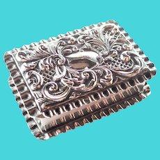 English Late Victorian Silver Snuff or Pill Box