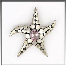 French Art Deco Silver Amethyst Starfish Pin