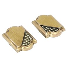 French Napoleon 111 Silver Gilt and Seed Pearls Cufflinks
