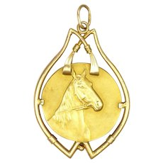 Antique 18K Gold Horse's Heads Pendant