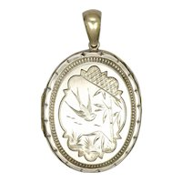 Victorian  Aesthetic Silver Engraved Bird and Ferns Locket