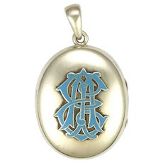 Victorian Silver and Enamel 'A E I' Secret Message Locket