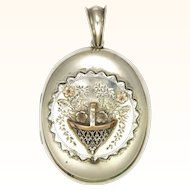 Victorian Silver and Gold Overlaid Basket Locket