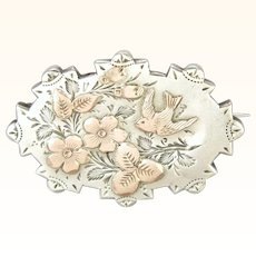 Victorian 1887 Sterling Silver with Gold Overlay Pin