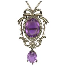 Victorian Silver Amethyst Seed Pearl Pendant Necklace Pin
