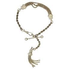 Victorian Sterling Silver Albertina Bracelet with Tassel
