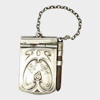 Miniature Art Nouveau Silver Aide Mémoire Note Book