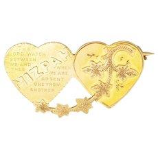 Victorian 9K Gold Mizpah Hearts Ivy Pin