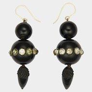 Victorian Whitby Jet Pastes Drop Earrings - 9K Gold Hooks