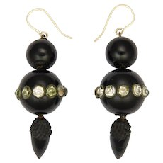 Victorian Whitby Jet Pastes Drop Earrings - 9K Gold Hooks
