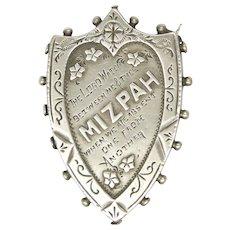 Victorian 1889 Sterling Silver 'MIZPAH' Pin