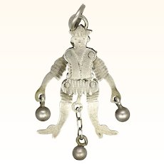 Victorian Silver Jester Articulated Charm