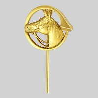 French Art Nouveau Gold Filled Horse's Head Stick Pin - FIX