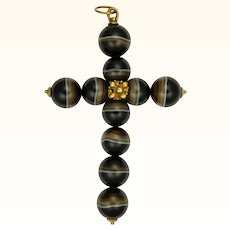 Large Victorian Banded Agates Cross Pendant