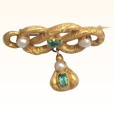 Georgian 15K Engraved Gold Emeralds Pin