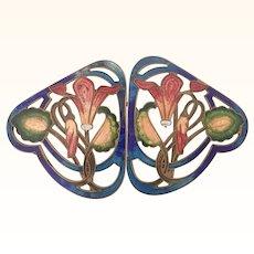 Art Nouveau Enamel Flowers and Leaves Buckle