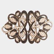 Art Nouveau Stylised Flower Enamel Dress Buckle