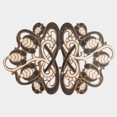 Art Nouveau Stylised Flower Enamel Dress Buckle