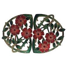 Art Nouveau Enamel Flowers Dress Buckle