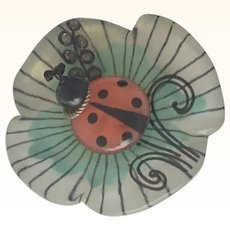 French Galalith Flower and Ladybug Pin