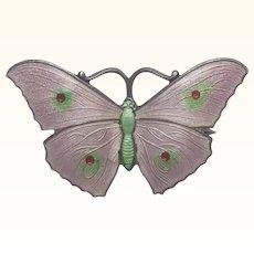 English 1917 Silver Enamel Butterfly Pin - JA&S