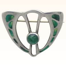 Arts and Crafts CHARLES HORNER Silver Enamel Pin