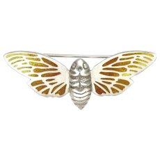 NORMAN GRANT - Scotland 1980 - Silver Enamel Moth Pin