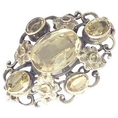 Arts and Crafts Citrine and Sterling Silver Pin - Zoltan White