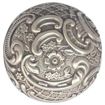 English 1900 Sterling Silver Repoussé Pill Box