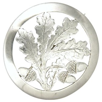 Large Oak Leaves and Acorns 900 Silver Brooch - Germany