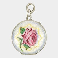 Art Deco Silver Enamel Rose Locket