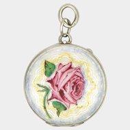 Art Deco Silver Enamel Rose Locket