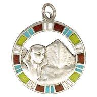 Art Deco Egyptian Revival Silver Enamel Pendant or Charm