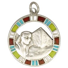 Art Deco Egyptian Revival Silver Enamel Pendant or Charm