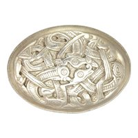 English Sterling Silver 'Oureborous' Mythical Creatures Brooch - Hallmarked 1988