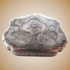 French Victorian Engraved Silver Purse Box