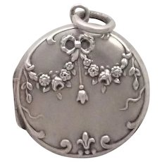 French Antique Silver Rose Garland Locket