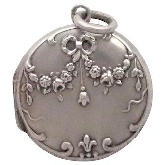 French Antique Silver Rose Garland Locket