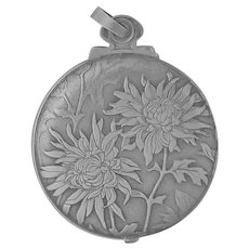 Swiss 800 Silver Chrysathemumum Mirror Slide Pendant - HUGUENIN