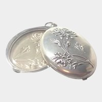 French Antique Silver Slide Pendant - Chrysanthemum Design