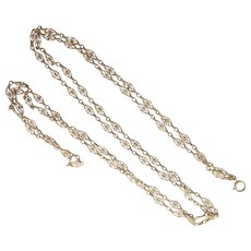 French Antique Gold Filled Guard Chain - 55""